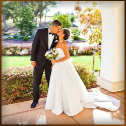 A couple embrace on their wedding day at Catta Verdera Country Club in Lincoln, California